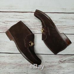 Vintage Gucci Womens Brown Suede Horse bit Chukka Mid Shoes Boots Loafer 7 ITALY