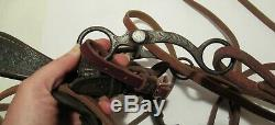 Vintage HORSE BIT Old Style BUCKAROO Style Bridle Harness Leather REINS used
