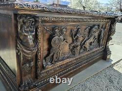 Vintage Hand Carved Executive Desk Leather Top Horses Sparta Olympics