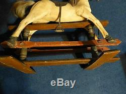 Vintage Hand Carved & Painted Glider Rocking Horse, Leather Saddle, Horse Hair