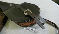 Vintage Hand Tooled Leather & Sterling Silver Hardware Horse Western Saddle Bags