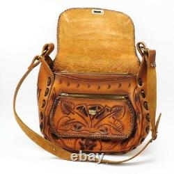 Vintage Hand Tooled Mexican Leather Shoulder Bag Horses