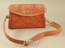 Vintage Hand tooled 11.5 X 7.5 Western Leather Purse Bag Horse Design NICE