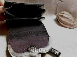 Vintage Handbag Equestrian Accessory Black Leather Pewter Horse Detail Stylish