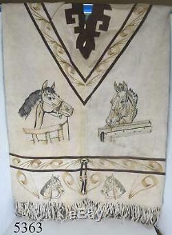 Vintage Handmade Native American Indian Leather Poncho Fringe Horses Beads