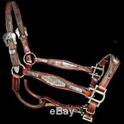 Vintage Handmade Sterling Silver Small Spring Yearling Horse Leather Show Halter