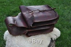 Vintage Heavy Leather Western Motorcycle Horse Saddle Bags Hard Sided Saddlebags