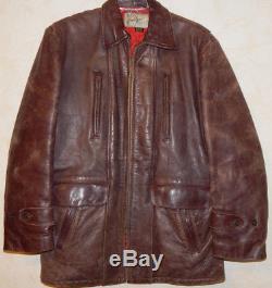 Vintage Hercules Top Grain Front QTR Horse Hide Leather Jacket Car Surcoat Sears