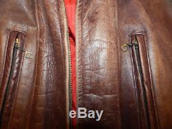 Vintage Hercules Top Grain Front QTR Horse Hide Leather Jacket Car Surcoat Sears