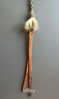 Vintage Hitched Horse Hair and Braided Leather Equestrian Horse Whip