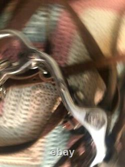 Vintage Horse Bit With Hand Made Sterling Silver Overlay, & Leather Bridle& Reins