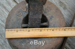 Vintage Horse Buggy Carriage Wagon Cast Iron Weight Tether Leather Strap
