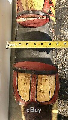 Vintage Horse Hand Carved Original Leather Saddle Decorative Paint Glass Eyes