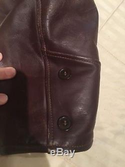 Vintage Horse Hide Brown Leather Jacket Shearling Lined Men's Nice Condition