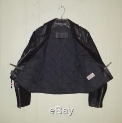 Vintage Horse Hide Leather Biker's Jacket Women's Medium Black Studded Punk Mod
