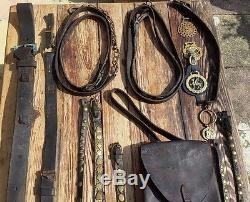 Vintage Horse Leather Brass Bridle Tack and Saddle Bag