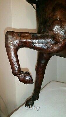 Vintage Horse Sculpture Leather Wrapped Equestrian 17