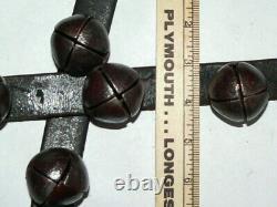 Vintage Horse Sleigh 33 Metal Bells Leather Strap 9 feet Long