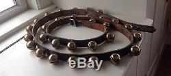 Vintage Horse Sleigh Bells Leather Belt Strap