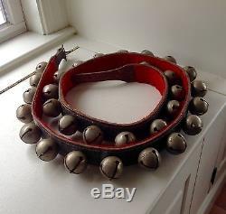 Vintage Horse Sleigh Bells Leather Belt Strap Large Bells