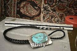 Vintage Huge sterling carved turquoise horse bolo tie leather necklace 107 gr