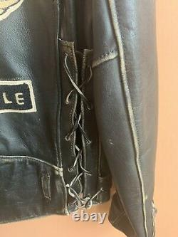 Vintage Indian Motorcycle Iron Horse Heavy Leather Jacket Chenille Patches XXL