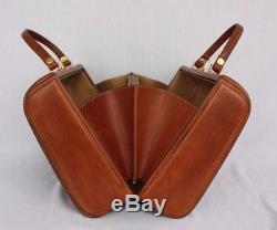 Vintage Italian Leather Hard Side Purse Handbag Equestrian Western Horse Brown