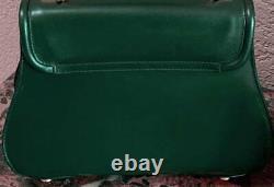 Vintage Italian SISO Green Leather Handbag Gold Tone Horse Hardware