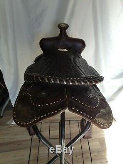 Vintage KEYSTON Buck Stitched Saddle Western 15 Horse Tack