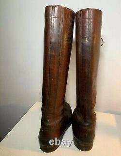 Vintage LEATHER TALL MEN BOOTS MILITARY AVIATOR WORK RIDING CAVALRY 40s Size 12