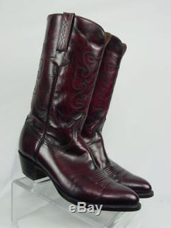 Vintage LUCCHESE Men 9-EE Black Cherry Full Goat Western Horse Cowboy Boots
