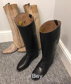 Vintage Ladies Black Leather Horse Riding Boots with Wooden Trees Stretchers