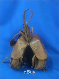 Vintage Large Heavy-Duty Leather SADDLE BAGS Western Cowboy Horse Tack