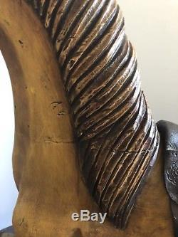 Vintage Large Wooden Platform Rocking Horse Excellent Condition Leather Seat