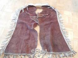 Vintage Leather 4 Card Suits Horse Motorcycle Rodeo Western Fancy Chaps Gambler