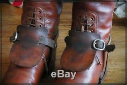 Vintage Leather Boots Faulkner Army Officer Cavalry Field Boots with Spurs