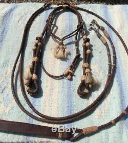 Vintage Leather Braided Horse Hair Tassel Headstall Matching Romal Reins