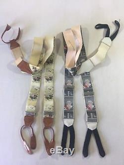 Vintage Leather Button Suspenders Lot 2 Calvin Curtis ibbas Horse Racing Judge