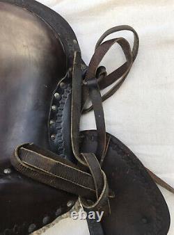 Vintage Leather Childs Saddle Horse Pony Small Horse Western Stirrups