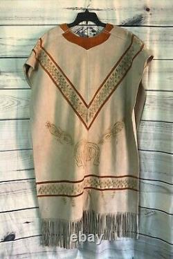 Vintage Leather Cowboy Western Poncho With Intricate Horse Design