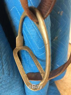 Vintage Leather English Jockey Horse Saddle Seat Made In England Brass Stirup