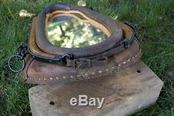 Vintage Leather Horse Collar Mirror with Hames and Show Rings decorative decor