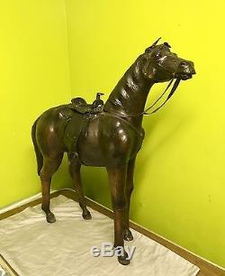 Vintage Leather Horse Large Statue Figure
