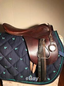 Vintage Leather Horse Racing Saddle w Crop Holder & Stopwatch