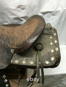Vintage Leather Horse Saddle Tooling Work Ornate Leather Stirrups
