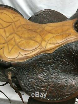 Vintage Leather Horse Saddle Tooling Work Ornate Wood Stirrups