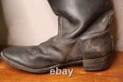 Vintage Leather Motorcycle Boots Engineer Boots Tall Black Antique Mens Panhead