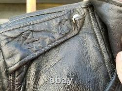 Vintage Leather Motorcycle Jacket Distressed True Vintage Horse Hide Size Small