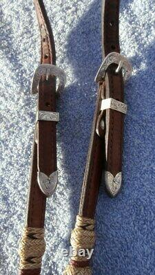 Vintage Leather Rawhide Buttons Sterling Overlay Buckles Horse Show Headstall