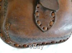 Vintage Leather Saddle Bag Motorcycle/Horse Hand Tooled Well Made Durable &Thick